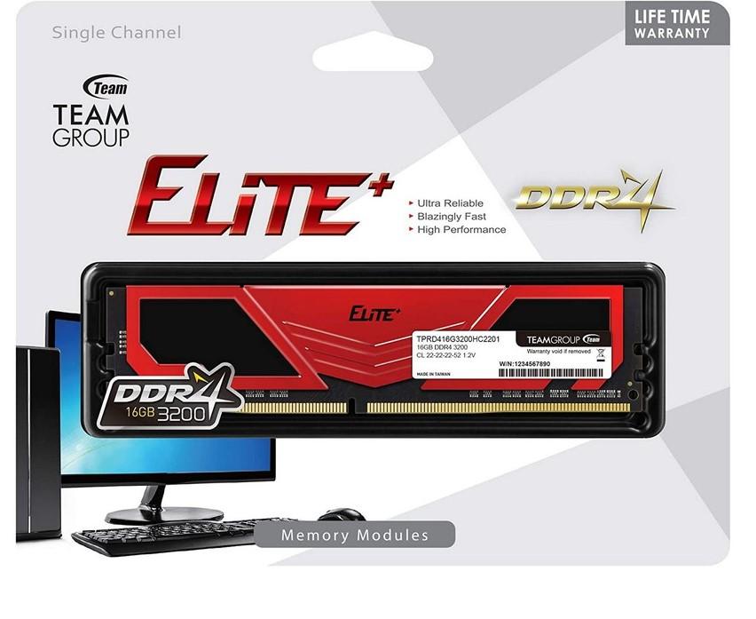 RAM DDR4 TEAMGROUP Elite Plus 16G (1x16GB) Bus 3200 (TPRD416G3200HC22BK)